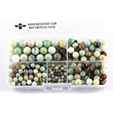 BRCbeads Amazonite Natural Gemstone Loose Beads Round Value Box Set 340pcs Per Box for Jewelry Making (Plastic Container is Included)-4,6,8,10mm (Color: Amazonite, Tamaño: 4mm;6mm;8mm;10mm)