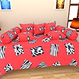 The Decor Hub Cotton Diwan Set (Pack of 8)- 90 inches x 60 inches, Red