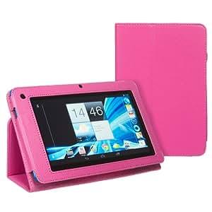 Hostey® Acer Iconia B1 Hülle Case Leder Tasche Schutzhülle Lederhülle Etui mit Ständer(PU Leder) (ROSA/PINK)