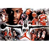 (24x36) Michael Jordan Wings Collage Vintage Sports Poster Print