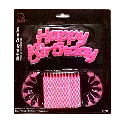 Pink Happy Birthday Candle Set - 1
