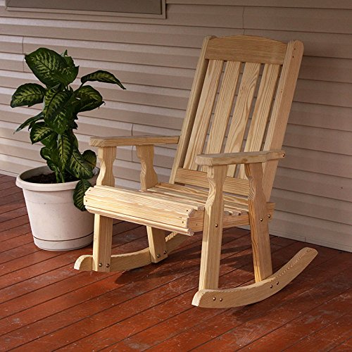 Amish Heavy Duty 600 Lb Mission Pressure Treated Rocking Chair (Unfinished)