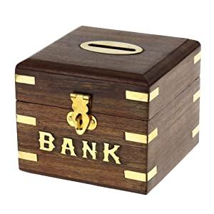 Handmade wooden piggy bank decoration unique keepsake Large piggy banks for adults