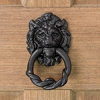Casa Hardware Hand-Forged Iron Lion Head Door Knocker - Black Powder Coat