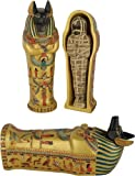 "Large Anubis coffin with mummy inside - 8""L"