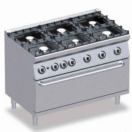cuisinière à gaz, 6 brûleurs, 1 four maxi électrique
