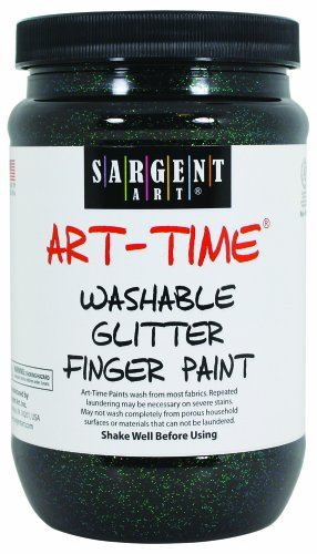 Sargent Art 22-9285 16-Ounce Art Time Washable Glitter Finger Paint, Black