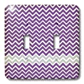 3dRose LLC lsp_44147_2 Purple and Gray Chevron Stripes Double Toggle Switch