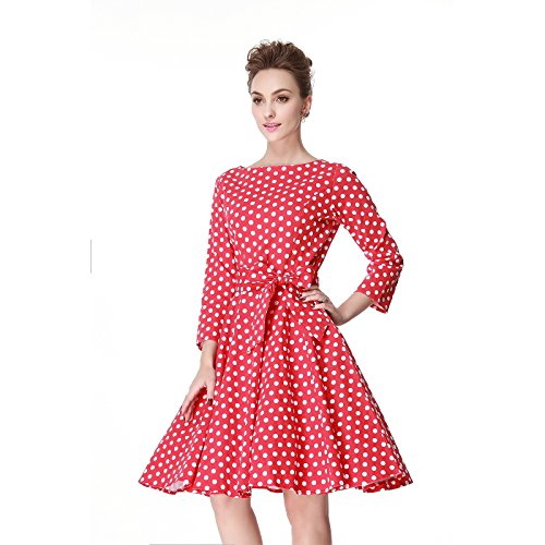 Heroecol 50s 60s Hepburn 3/4 Sleeve Style Vintage Retro Swing Rockailly Dresses Size XL Color Red with white