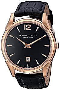 Hamilton Men's H38645735 Jazzmaster Slim Black Dial Watch