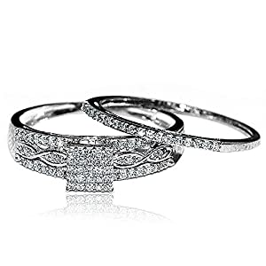 0.2ct Diamond Bridal Set Square Shaped Pave Set Diamonds 10K White Gold from MidwestJewellery