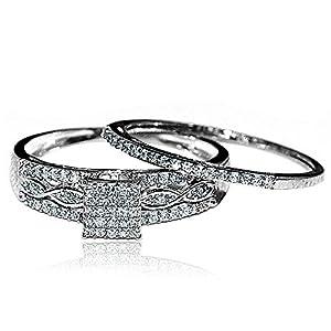 0.2ct Diamond Bridal Set Square Shaped Pave Set Diamonds 10K White Gold from MidwestJewellery