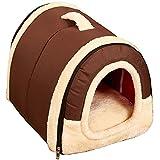ペットハウス 犬 猫 ドーム型 ふわふわ ベッド 折りたたみ式 中敷き付き (L 60x45x45cm, ブラウン)