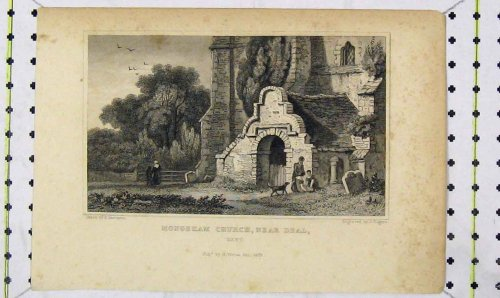 1829 View Mongeham Church Deal Kent Engraving Rogers