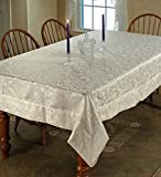 "Princess Damask Vintage Design Tablecloth Cream 70"" by 108"" Oblong / Rectangle"