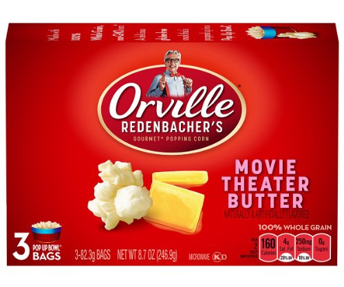 Orville Redenbacher'S Pop-Up Bowl Movie Theatre Butter Microwave Popcorn, 3 - 2.9 Oz Bags Per Box,  (Pack Of 4)