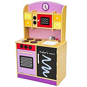 Tectake wooden childrens kitchen cooking toys learner set for Kitchen set toys amazon