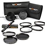 K&F Concept 72mm 7pcs Lens Accessory Filter Kit Neutral Density Filter for Canon 7D 60D 70D 500D for Nikon D7000 D600 D300 D800 D7100 for Sony A77 NEX 5 DSLR Cameras - Includes Filter Kit( ND2+ND4+ND8, Close-up+1+2+4+10) + Cleaning Pen + Petal Lens Hood
