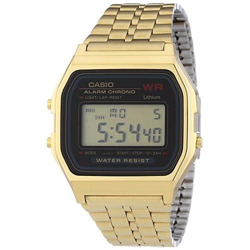 Casio A159WGEA-1EF Men's Digital Watch with Gold Tone Stainless Steel Bracelet