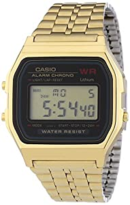 Casio Men's Digital Watch A159WGEA-1EF with Gold Tone Stainless Steel Bracelet