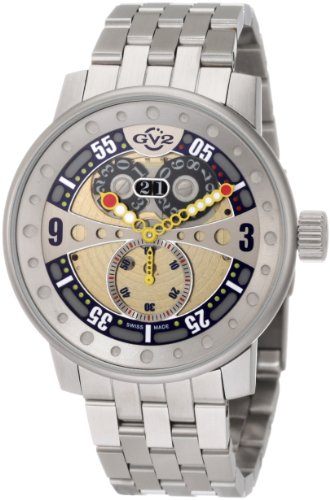 GV2 by Gevril Men's 4042B Powerball Big Date Sub-Second Steel Bracelet Watch