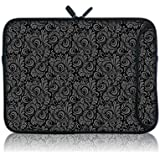 """TaylorHe 15"""" 15.6"""" Compact Neoprene Laptop Sleeve Printed with Double Zipper Double Side Pocket Grey Paisley Vintage"""
