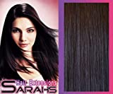 14 inch Off Black (1b). Full Head. Clip in Human Hair Extensions. High quality Remy Hair!. 120g Weight