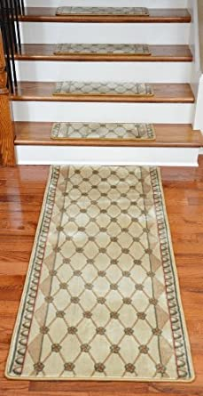 Premium Carpet Stair Treads Chelsea Trellis Ivory 13