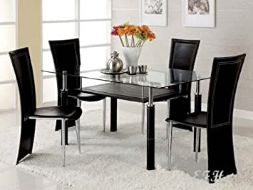 WelcomeiHome .INC New 5pc Modern Glass Top Chrome Metal Dining Table Set at Sears.com