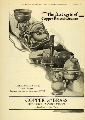 1922 Ad Copper Brass Bronze Research Precious Materials Industrial Supplies - Original Print Ad