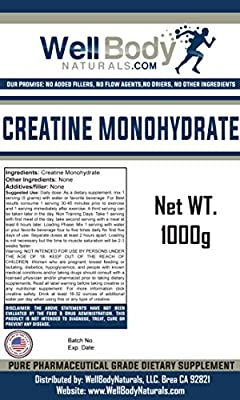 WellBodyNaturals Pure Micronized Creatine Monohydrate Powder