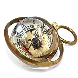 CredDeal Pure Copper Quartz Glass Ball Roman Numeral Steampunk Dial Pocket Watch with Ring Around
