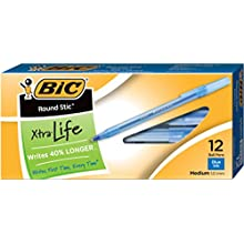BIC Round Stic Xtra Life Ball Pen, Medium Point (1.0 mm), Blue, 12-Count (GSM11)