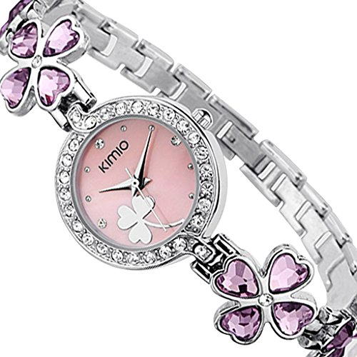 Soleasy New 2014 Fashion Women Brand Kimio Stainless Steel Strap Luxury Lady Wristwatches-Pink Wth4004