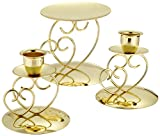 Darice VL26 Heart Wedding Unity Candle Holder, Gold, 3-Pack
