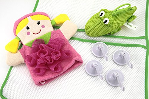GIRL-1-BEST-Bath-Toy-Organizer-Set-1-Storage-Bag-1-PINK-Baby-Girl-Bath-Glove-1-Crocodile-Bath-Toy-4-Strong-suction-cups