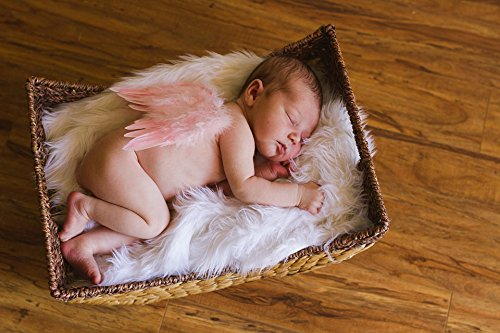 Natural Feather Angel Butterfly Wings, Newborn, Baby, Photo prop- Color: Rose Pink