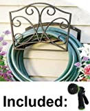Decorative Wall Mount Garden Hose Hanger / Holder. Including Spray Nozzle.