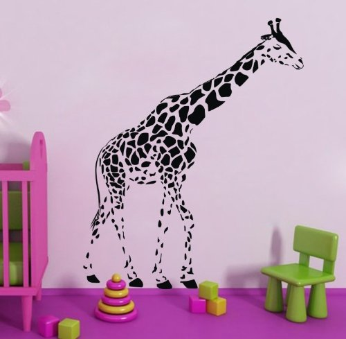 Olivia Large Black Giraffe Wall Decals Stickers Diy Cartoon Animal Vinyl Removable Home Decor Art For Teen Boys Girls Kids Bedroom Playroom front-945761