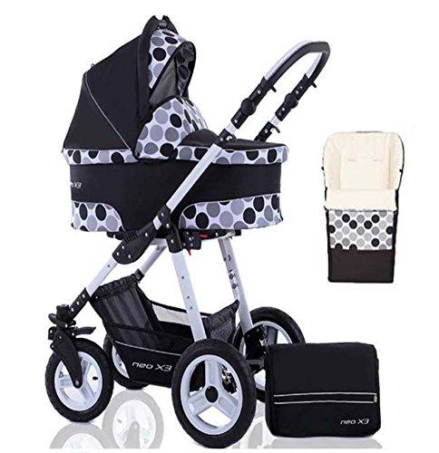 2 in 1 Kinderwagen Neo X3 - Kinderwagen + Sportwagen + Fußsack + GRATIS ZUBEHÖR in Farbe Schwarz-Weiß-Polka