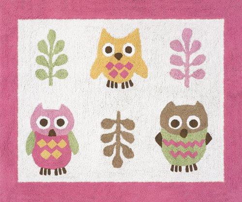 Pink Happy Owl Accent Floor Rug front-482780