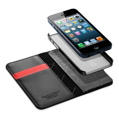 国内正規品SPIGEN SGP iPhone5/5S レザーウォレットケース スナップ [ブラック]SGP10134