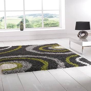 tapis poils longs longs nordic equator vert citron gris acier 160 x 230 cm. Black Bedroom Furniture Sets. Home Design Ideas