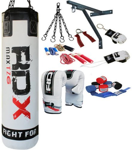 RDX 13PC Professional Boxing Set 5ft Filled Heavy Punch Bag,Gloves,Bracket MMA