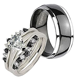His Her's Black Titanium Dome & Silver 925 Heart Simulated Diamond Bridal Ring Set Sz 5, 10