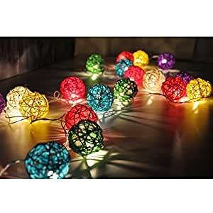 Buy Generic 20 Led Battery Operated Diwali Decor Rattan Ball Shape String Lamp Lights Online At