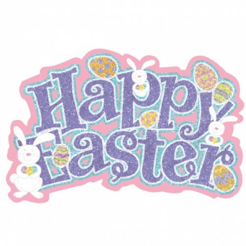 Happy Easter Glitter Cutout 18in x 23in