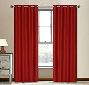 LJ Home Fashions Vegas window panels in red (set of 2)