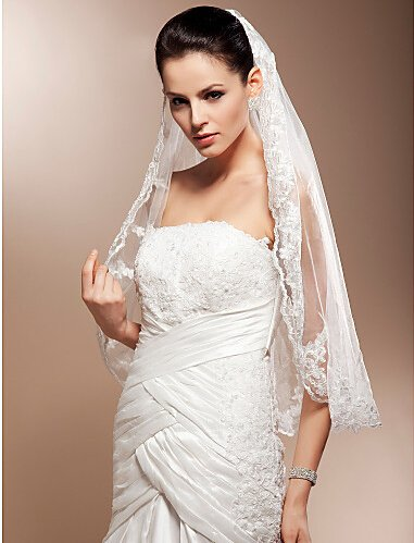 Aukmla 1 Tier Waist Wedding Veil, Bridal Hair Accessories with Lace Edge and Comb (Ivory)