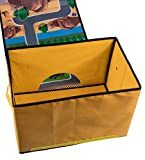 """Kids Construction Road Play Mat and Collapsible Toy Storage Organizer - 15.5"""" x 10"""" x 9.75"""""""